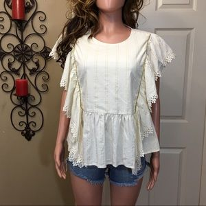 Tops - Ivory gold stripe crochet trim babydoll top